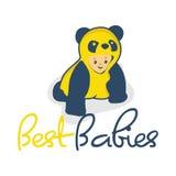 有衣裳熊猫例证的逗人喜爱的婴孩 免版税图库摄影
