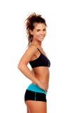 有衣裳的美丽的妇女健身的 免版税图库摄影