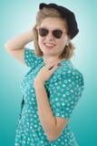 有衣裳1940样式的俏丽的妇女 库存图片