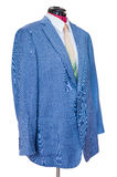 有衬衣的蓝色丝绸被隔绝的夹克和领带 免版税图库摄影