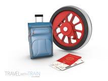 有袋子和通行证的, 3d钢火车轮子例证隔绝了白色 皇族释放例证