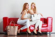 有袋子提包的时兴的女孩在红色长沙发 库存照片