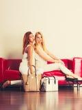 有袋子提包的时兴的女孩在红色长沙发 库存图片