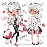 有袋子的两个逗人喜爱的动画片女孩 向量例证