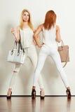 有袋子的两名亭亭玉立的妇女 库存照片