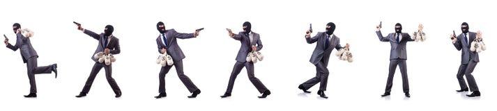 有袋子的匪徒在白色的金钱 免版税库存照片