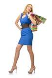 有袋子的可爱的女孩 免版税库存图片