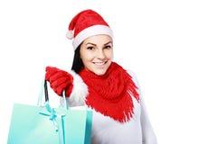 有袋子的圣诞节妇女 库存图片