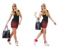 有袋子的妇女在时尚概念 库存图片