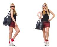 有袋子的妇女在时尚概念 免版税库存图片