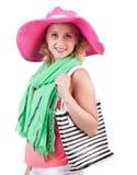 有袋子的妇女以时尚 免版税库存图片