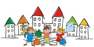 有袋子的小学生朝向学校,传染媒介滑稽的illustratio 免版税库存照片