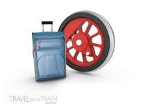 有袋子的, 3d钢火车轮子例证隔绝了白色 库存例证