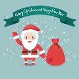 有袋子的滑稽的圣诞老人在雪,圣诞节下的红色衣服和 库存图片