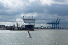 有被停泊的船的海口 图库摄影