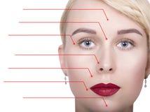 有被加点的箭头的在她的面孔指向在面孔区域的年轻,新鲜和自然妇女特写镜头画象  温泉 免版税图库摄影