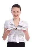 有被开张的书的新可爱的妇女 免版税库存图片