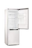 有被打开的门的空的冰箱 免版税库存图片