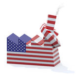 有被打结的烟囱的美国工厂 免版税库存图片