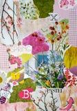 有被撕毁的杂志的春季大气颜色蓝色,桃红色,绿色,黄色和淡色心情委员会与花和枝杈 免版税库存图片