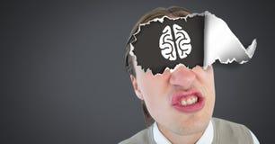 有被撕毁的纸的人在眼睛和脑子 免版税库存图片