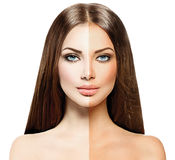 有被晒黑的皮肤的妇女在棕褐色前后