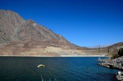 有被淹没的PTDC汽车旅馆标志的斯卡都巴基斯坦Satpara湖 免版税库存照片