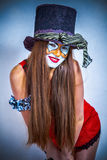 有被绘的表面的女孩小丑。 库存照片