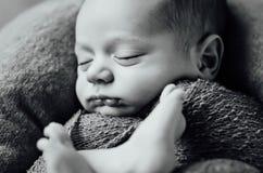 有被编织的帽子的新出生的睡觉的男婴 库存照片