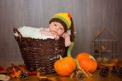 有被编织的帽子的逗人喜爱的新出生的男婴在篮子 免版税库存照片