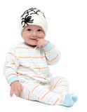 有被编织的帽子的美丽的男婴 库存图片
