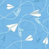 有被缠结的线的无缝的样式纸飞机 重复与纸飞机和飞奔的被缠结的线的抽象背景 免版税库存图片