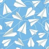有被缠结的线的无缝的样式纸飞机 重复与纸飞机和飞奔的被缠结的线的抽象背景 库存照片