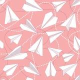 有被缠结的线的无缝的样式纸飞机 重复与纸飞机和飞奔的被缠结的线的抽象背景 免版税图库摄影