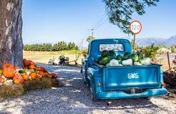 有被装载的水果和蔬菜收获的老卡车停放了在旁边 免版税库存照片