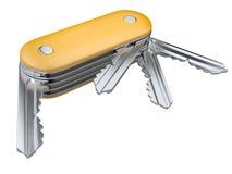 有被设置的钥匙的瑞士刀子 背景概念查出的证券白色 图库摄影