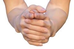 有被连结的手指的女性手 免版税库存图片