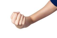 有被隔绝的一个握紧拳头的女性手 库存图片