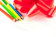 有被隔绝的一把红色弓的色的铅笔 库存照片