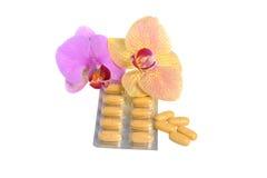 有被隔绝的两朵兰花花的影片上漆的片剂 免版税库存图片
