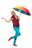 有被隔绝的五颜六色的伞的少妇 库存照片
