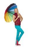 有被隔绝的五颜六色的伞的少妇 免版税库存图片