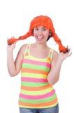 有被隔绝的五颜六色的假发的妇女 免版税库存图片
