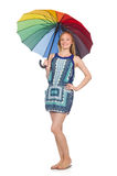 有被隔绝的伞的妇女 免版税库存图片