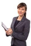 有被隔绝的剪贴板的微笑的妇女 免版税库存图片