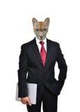 有被隔绝的动物头的商人 免版税库存图片