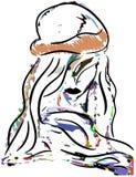 有被隔绝的帽子的五颜六色的女孩 免版税库存照片