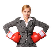 有被隔绝的拳击手套的女商人 库存照片