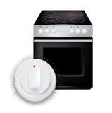 有被隔绝的按钮/瘤的现代烹饪器材 免版税库存图片