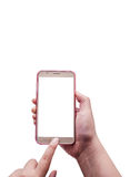 有被隔绝的智能手机的,裁减路线手 免版税库存图片